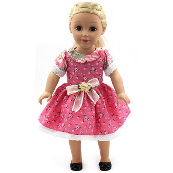 American Girl Doll Clothing Flowers Bow Small Floral Princess Dress of 18 inch Doll Dress