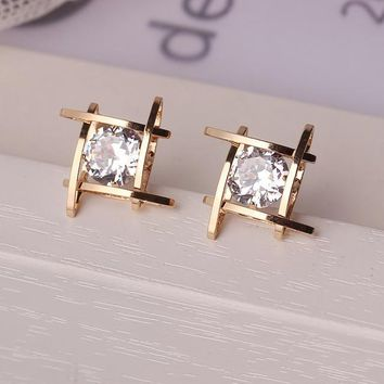 STYLEDOME Rhinestone Full Crystals Square Stud Earrings for Women