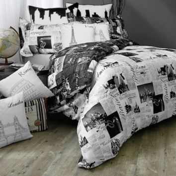 Passport London and Paris Reversible Duvet Cover Set