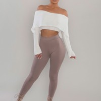 Foldover Cropped Knit Sweater - Off White