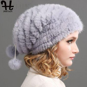 QIYIF FURTALK Real Knitted Mink Fur Hat Women Winter Fur Hats Slouchy mink fur hats for women