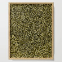 Black and faux gold swirls doodles Serving Tray by savousepate