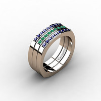 Mens Modern Conservative 14K Rose Gold Blue Sapphire Emerald Cluster Ring G10041-14KRGEMBS
