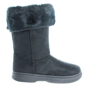 Tahoe15 Black By Bamboo, Winter Warm Faux Sheep Skin & Synthetic Fur Cuff, Slipper Boots, Mukluk