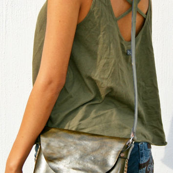 Handcrafted Leather Purse Crossbody Purse Handmade Mexican Leather Bag Rustic Leather Bag Satchel Bag Boho Purse Green Leather S/M