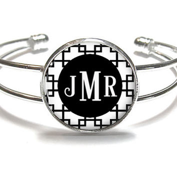 Black Reverse Square Monogram Bracelet, Monogram Bangle, Monogram Jewelry, Bridesmaid Gift, Personalized Bracelet - Style 480