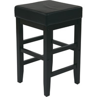 """OSP Metro 25"""" Square Barstool with Espresso Legs, Black Faux Leather"""
