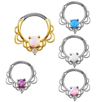 1PC Lacey Opal Gem Septum Ring Rook Clicker Nose Ring Titanium Shaft 16G Hanger Body Piercing Jewelry