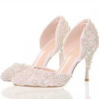 Dream bright diamond wedding shoes high-heeled shoes with pointed bride fine crystal shoes sandals stage wedding shoes