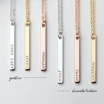 Dainty Vertical Hand Stamped Name Gold Bar Necklace Personalized Gift for women Bridesmaid Jewelry - 6N