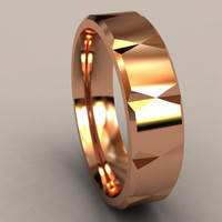 Faceted Rose Gold Disigner 6mm Mens Wedding Band with Clean & Sharp Lines, Classic 14kt Pink Gold Wedding Ring, Men's Anniversary Ring