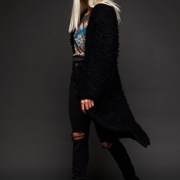 After Forever Black Long Shaggy Cardigan