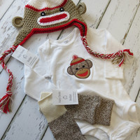 12 18 24 Month 3 Piece Sock Monkey Hat Onesuit and Leg Warmers Set