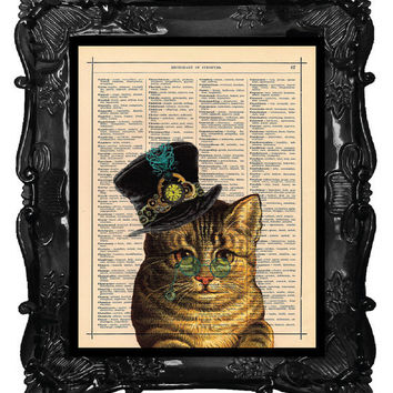 Cat Steampunk Art Print Kitty Print STEAMPUNK illustration beautifully upcycled dictionary page book clock art print