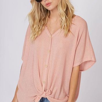 Blush Pink Button Down Front Tie Top