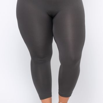 Plus Size Fleece Lined Seamless Leggings - Grey