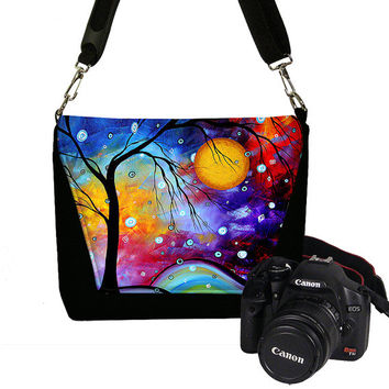 SALE 25% Off MadArt  Dslr Camera Bag in Winter Sparkle tree moon, Womens Digital Camera Case for  Nikon Canon,  blue yellow red purple  RTS