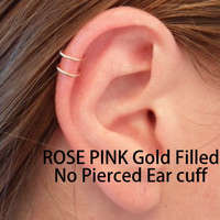 Double loop Ear cuff, ROSE PINK Gold filled 14k. Tragus, helix, Lip. Cartilage. Fake piercing. No Pierced ear cuff. Hypoallergenic.