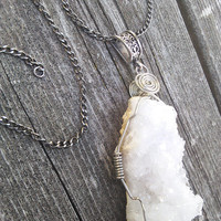 Crystal Necklace,Quartz Cluster Pendant,Crystal jewelry,Healing Crystal,Boho Necklace, Gypsy necklace, gemstone jewelry, shaman pagan