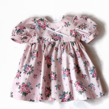 Calico Doll Dress Pink Roses Floral Blue White Green Prairie Summer Spring Bitty Twin Baby 14 to 16 inch Clothes --US Shipping Included