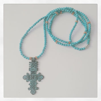 Turquoise & Copper Necklace with Ethiopian Cross Pendant