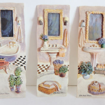 Vintage Bathroom Scene C WINTERLE OLSON Wall ART