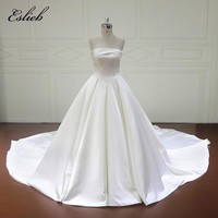 Eslieb New Design Ball Gown Wedding Dresses 2017 Strapless Lace Up Back Simple Wedding Gowns China Wedding Dresses