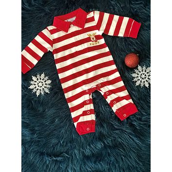 2018 Fall Three Sisters Boys Stripped ReindeerInfant Romper