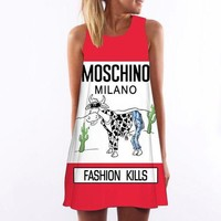 MOSCHINO Women Vest Dress Fashion Sleeveless Print Mini Dress