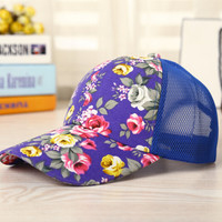 Purple Floral Cap Hat Summer Gift 22