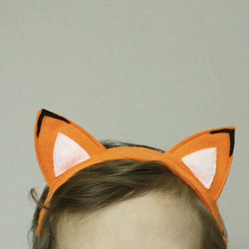 Fox Ears Children Headband Orange Felt kids costume Baby Headband , Photo prop elastic head band woodland animal
