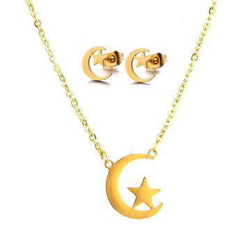 Elegant Curved crescent moon Bridal Jewelry Sets Wedding Jewelry ladies Stainless Steel Gold Silver Color Necklaces Earrings Set