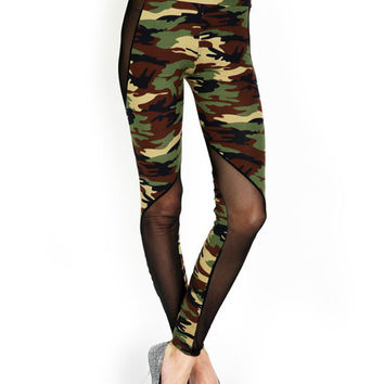 Camouflage Print Mesh Panel High Waist Leggings