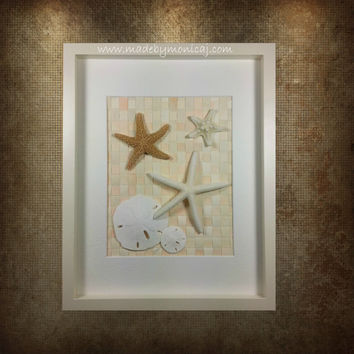 Starfish Beach Decor for your Nautical Theme Home.  Beach Wall Art for Bedroom or Bath. Coastal Home Decor. Framed Beach Art