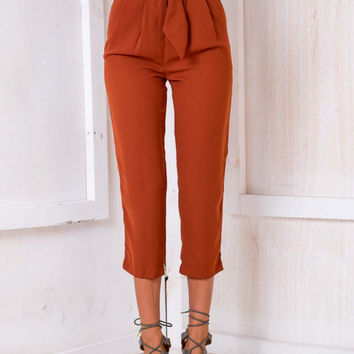 Reddish Brown High Waist Ring Belt Crop Cigarette Pants