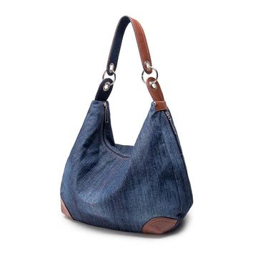 Bolso Kiple large luxury ladies denim handbag big shoulder bag blue jeans handbag Jean Denim Tote Crossbody ladies shoulder bag