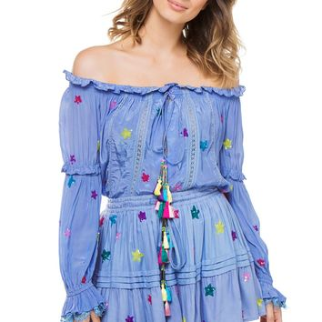 ROCOCO SAND Stellar Star Sequined Blouse Blue $265