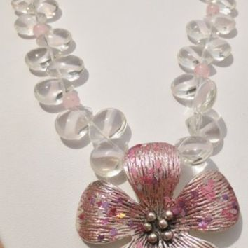 "19"" Pink Dogwood Gemstone Necklace"