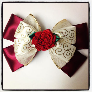 Beauty and the Beast Enchanted Christmas Belle Disney Hair Bow