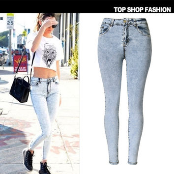 Hot Sale High Waist Jeans [8864419015]