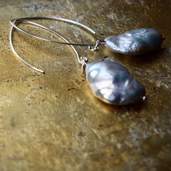 Grey baroque pearl statement earrings | Very large silver pearl drop earrings | Long large hook earrings | 925 silver Marquise fish hook