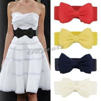 ac PEAPO2Q 2017 New Arrival Fashion Women Lady Bowknot Stretch Elastic Bow Wide Stretch Buckle Waistband Waist Belt