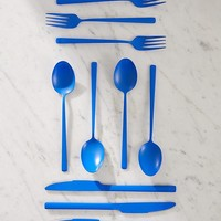 12-Piece Matte Blue Flatware Set | Urban Outfitters