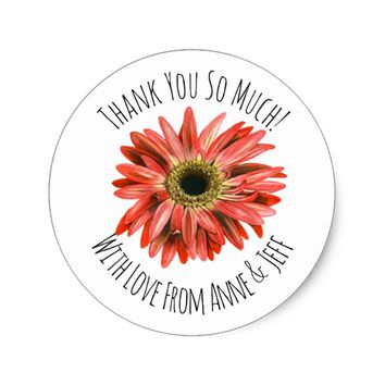 Orange Gerbera Flower Personalized Thank You Classic Round Sticker