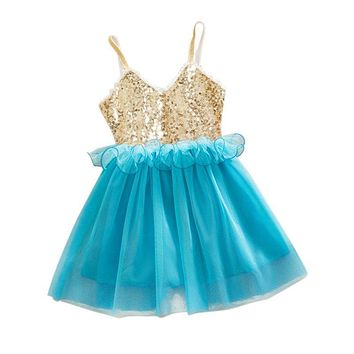 New Princess Girls Kids Baby Sequins Wedding Tulle Tutu Dress Sundress Toddler Girls Dress