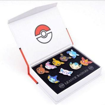 Pocket Monster Eevee Sylveon Eeveelution Badges Pins 9pcs set New in BoxKawaii Pokemon go  AT_89_9
