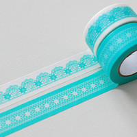 Colte Washi Masking Tape - Lace Mint - Wide Set 2