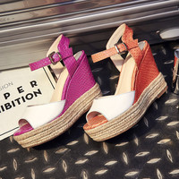 Summer Wedge Sandals Peep Toe Thick Crust High Heel Leather Casual Shoes Boots [6050212161]