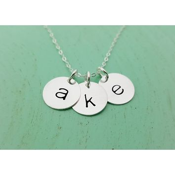 Initial Disc Necklace - Personalized Hand Stamped Sterling Silver Necklace