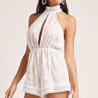 Self-Tie Embroidered Romper
